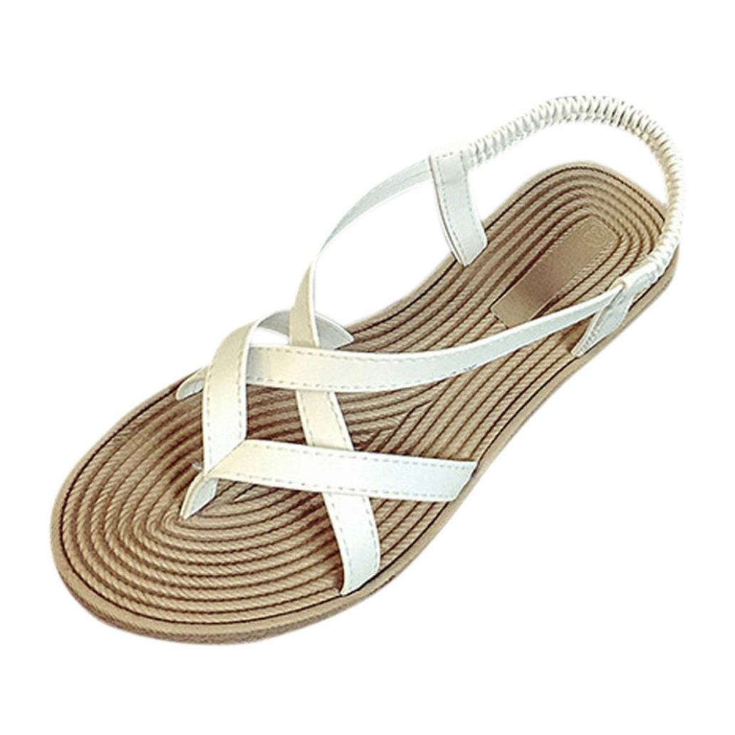 Tenworld Women Beach Flip Flops Flat Gladiator Sandals Gray