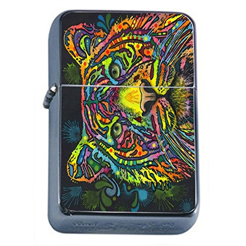 (Colorful Tiger Animal Flip Top Oil Lighter Em1 Smoking Cigarette Silver Case Included)