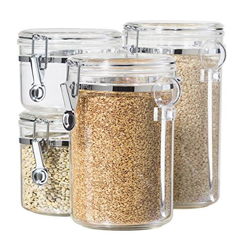 Oggi 4-Piece Acrylic Canister Set with Airtight Lids and Acrylic Spoons-Set Includes 1 each 28oz, 38oz, 59oz, 72oz(11.1 x 5.5 x 13.2 inches)