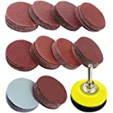 "Coceca 2 inch 100PCS Sanding Discs Pad Kit for Drill Grinder Rotary Tools with Backer Plate 1/4"" Shank Includes 80-3000 Grit Sandpapers"