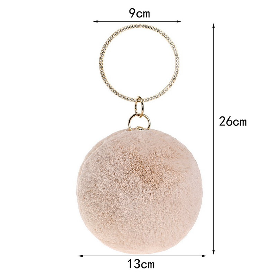Tatkldisu Frauen Plüsch Runde Ball Clutch Abend Abend Abend Handtasche Tasche Schulter Crossbody (Farbe   Aprikosen) B07MXJ852P Clutches Moderne und elegante Mode 1824e8