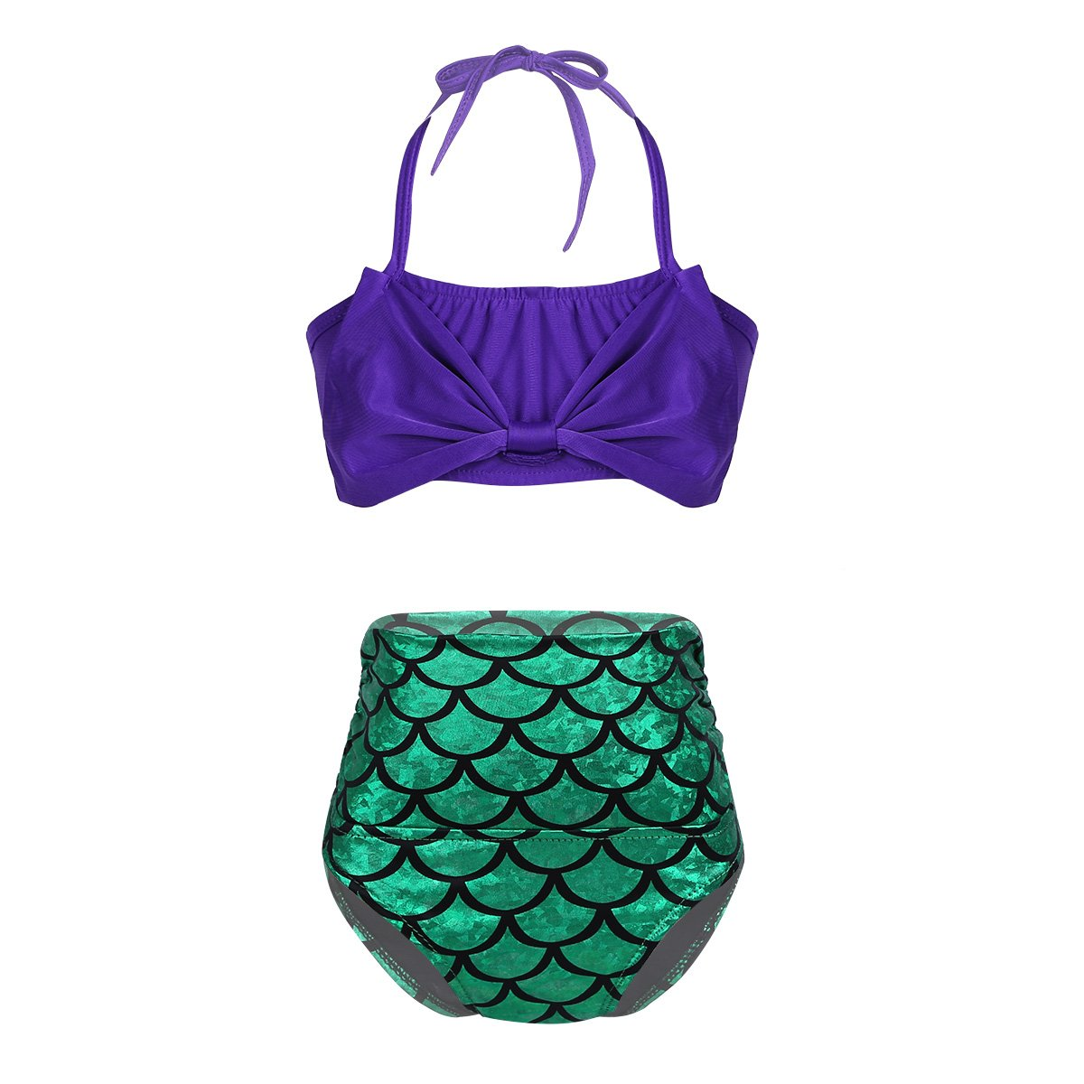 dPois Girls' Two-Pieces Mermaid Tankini Swimsuit Beachwear Halter Bowknot Tops with Fish Scale Bottoms Purple&Green 8-10 by dPois