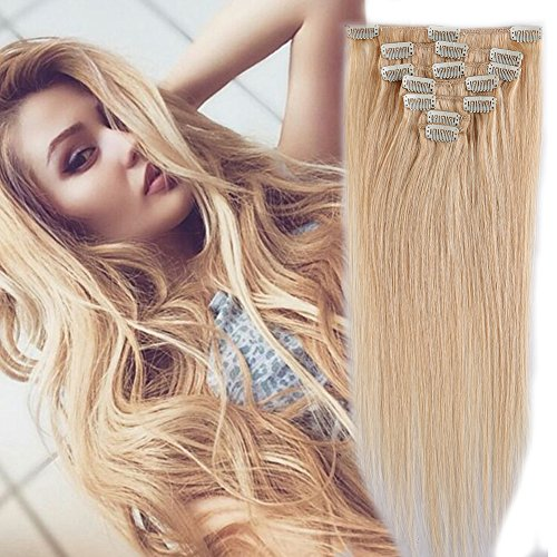 100% Remy Human Hair Clip in Extensions Grade AAAAA Natural Hair Full Head 7pcs 16clips Standard Weft Long Silky Straight for Women Fashion and Beauty (18
