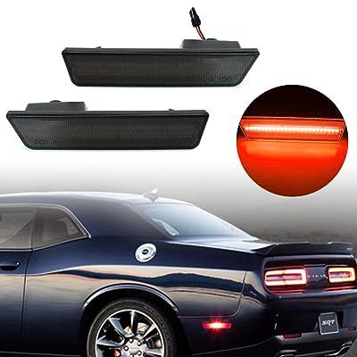 KE-KE A Set of 2PCS 3D Smoked Lens Amber 24-SMD LED Rear Bumper Side Marker Lights Lamps Replacement Kit For 2008-2014 Dodge Challenger (Smoked Lens red(Rear)): Automotive