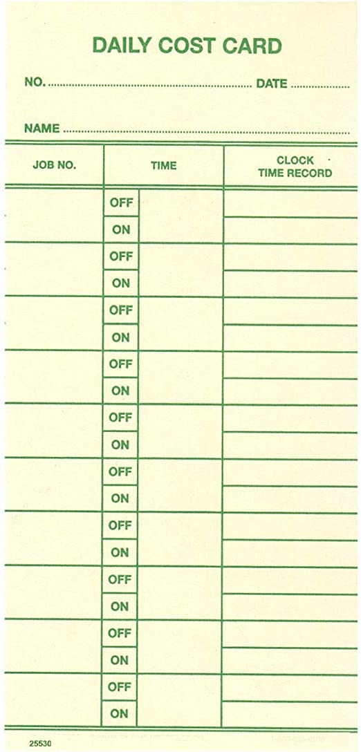1000 ct TCS Daily Cost Card for Acroprint ATT310 FORM ATT312-W