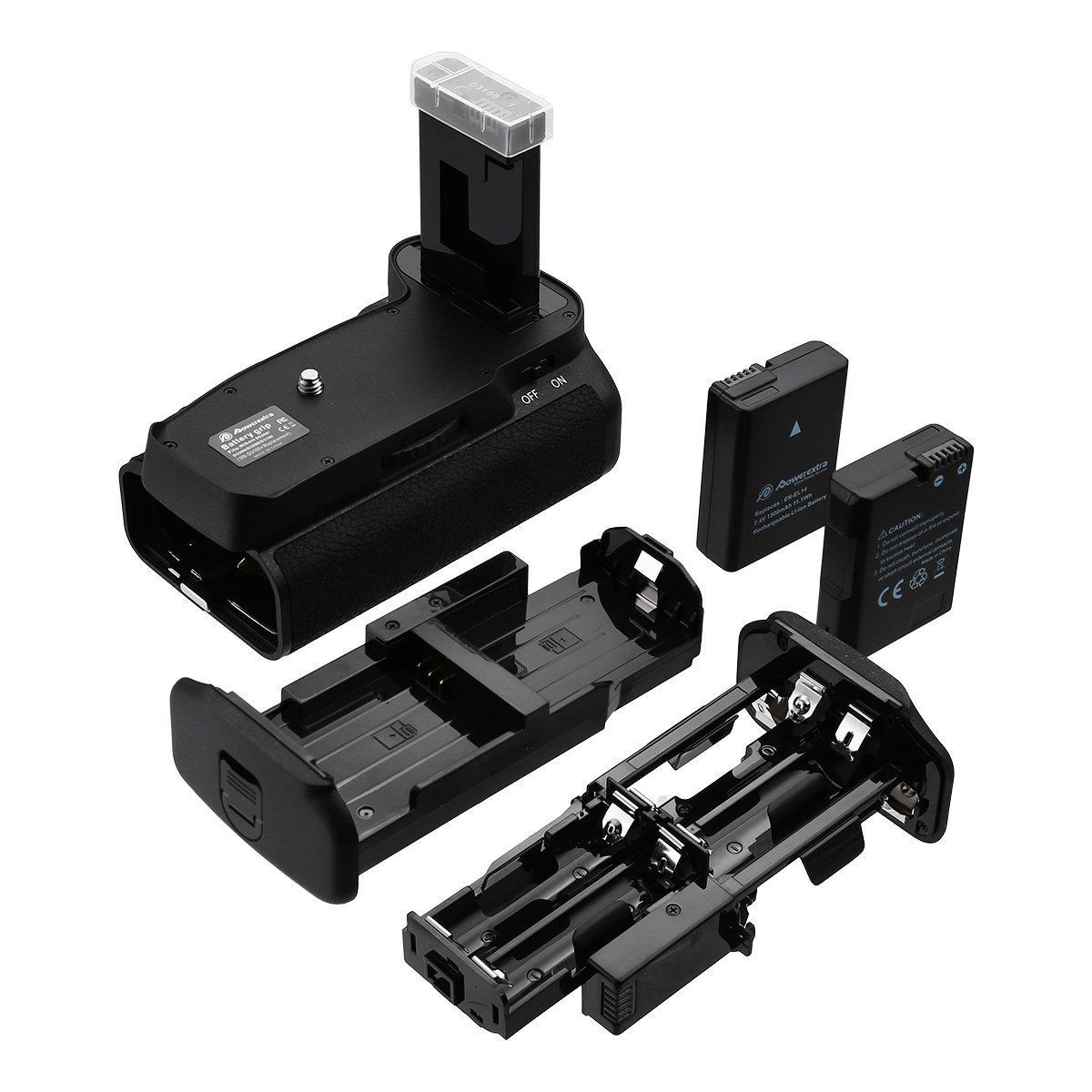 Powerextra Battery Grip + 2 × High Capacity 1500mAh EN-EL14 With Infrared Remote Control for Nikon D3100/D3200/D3300/D5300 Digital SLR Camera