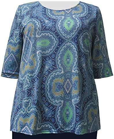 A Personal Touch Women's Plus Size Periwinkle Casbah Pullover Top