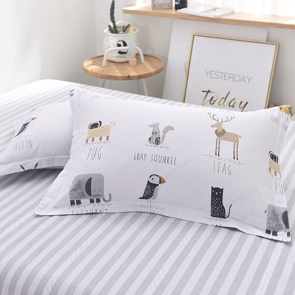 Enjoylife Cute Animal Reversible 3pcs Bedding Set Printing Cartoon Cute pet Duvet Cover Super Soft for Children/Adults 100% Cotton Comforter Cover Full Queen Size by EnjoyLife Inc (Image #3)