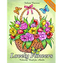 Lovely Flowers Coloring Book for Adults White Background
