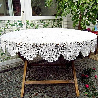N A Manteles Blancos de Encaje de algodón de Ganchillo Vintage Manteles Redondos adecuados para Bodas: Amazon.es: Hogar