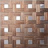 Wood Color Self-Adhesive Peel & Stick Metal Decorative Backsplash Wall Tile, Puzzle Brush Metal Square Tiles- M06 (5PCS 5.38Sq.ft)