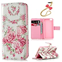 iPhone SE Case,iPhone 5 & 5S Case -MOLLYCOOCLE® Stand Wallet Credit Card ID Holders Magnetic Flip Folio TPU Soft Bumper PU Leather Clear Ultra Slim Skin Cover for iPhone SE & 5 & 5S - Vintage Flower