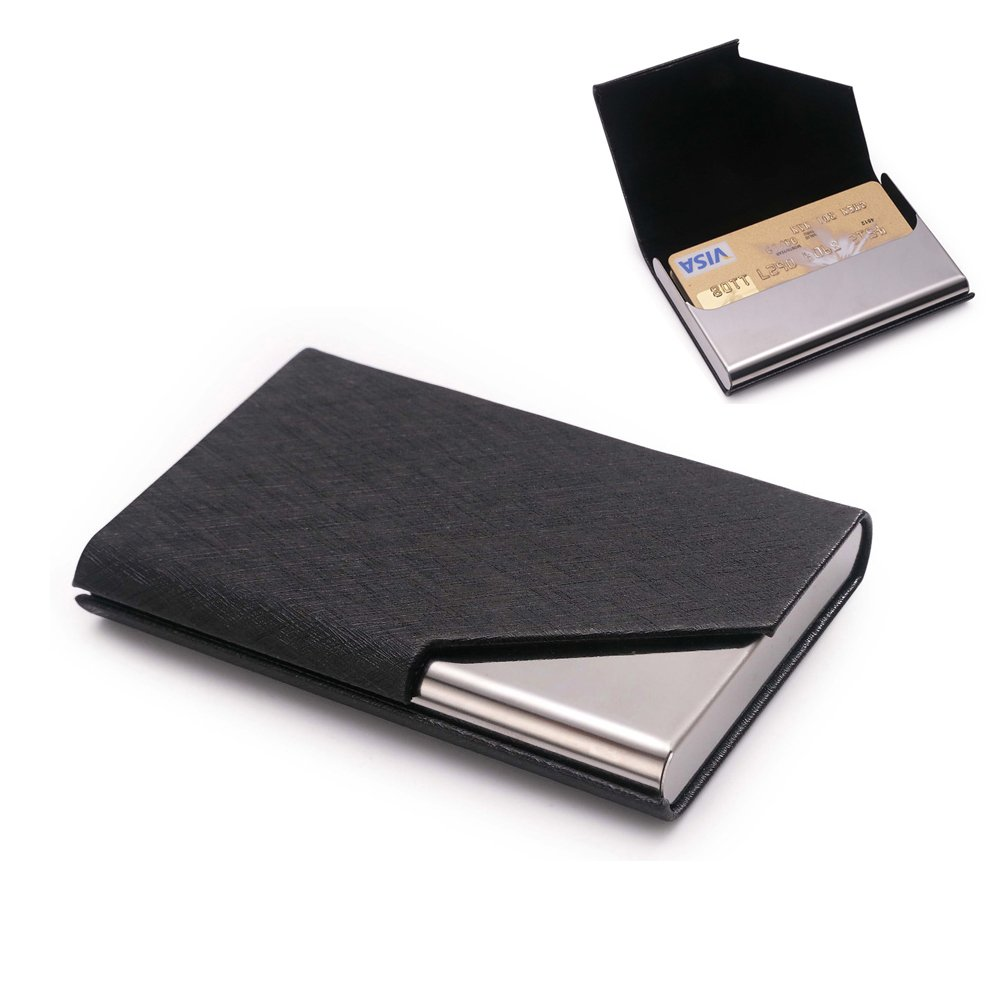 Teemzone Business Card Holder and Gift Box.Designed for Men and Women Leather Stainless Steel Card Case Wallet (Black)