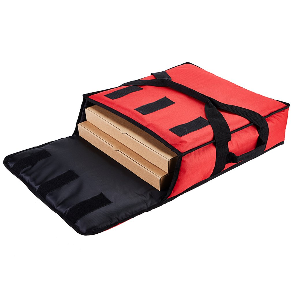 Yopralbags Insulated Food Delivery Bag Pizza Boxes Professional Warmer Carrier Moisture Free for 2-16'' or 2-18'' (Red, 20''X20''X6'')