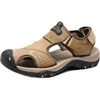 Heyean Men's Sandals Beach Shoes Leather Fisherman Closed Toe Breathable Anti-Slip Casual for Summer Hiking Outdoor Rainday