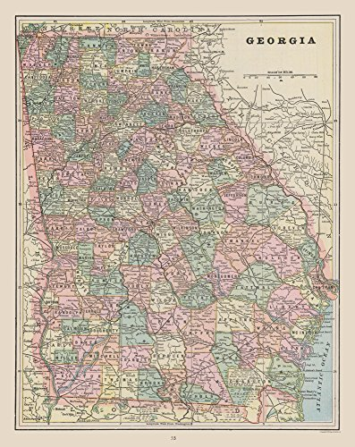 MAPS OF THE PAST Old State Map - Georgia - Cram 1892-23 x 28.99 - Matte Art Paper