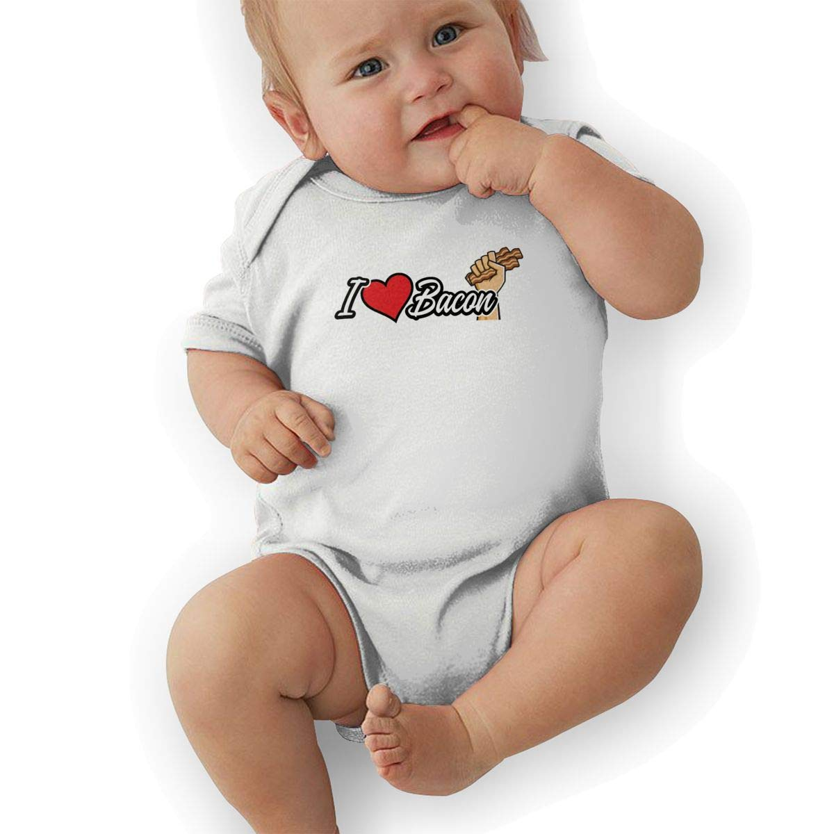 Newborn Baby Girls Bodysuit Short-Sleeve Onesie I Love Bacon Print Jumpsuit Autumn Pajamas