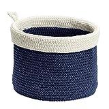 InterDesign Ellis, Hand Knit Round Organizer Bin for Towels, Blankets, Linens, Books, Accessories - Medium, Navy/Ivory