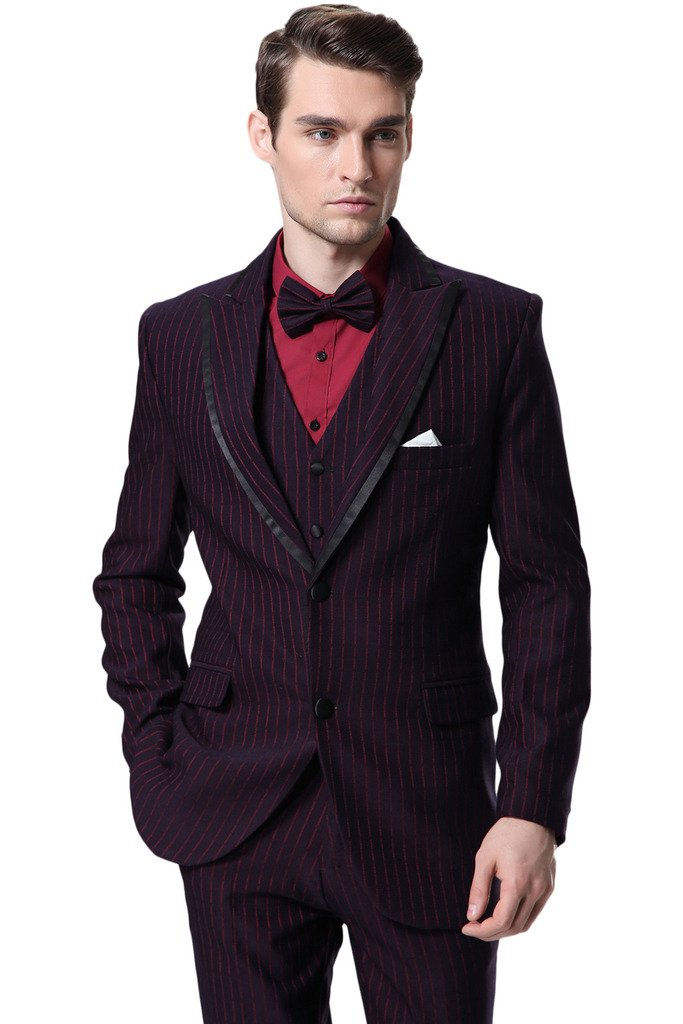Hanayome Men's 3 Pieces New Striped Groom Wedding Blazer Jacket Flat Pants D365£¨Red,44R£©