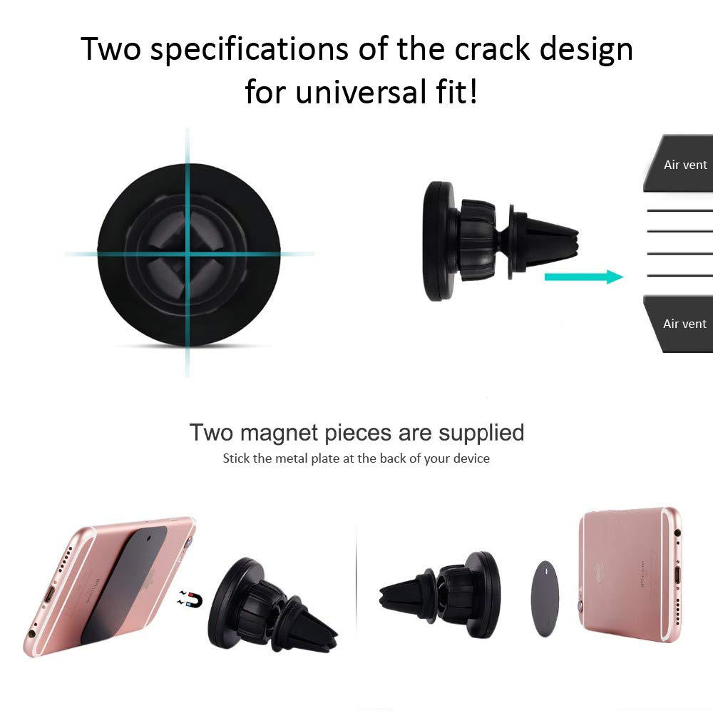 Magnetic Universal Phone Holder for Car Universal Fit with Easy 2-Way Clamping /& 2 Metal Plates Samsung Galaxy Manaste 360/° Rotation Air Vent Mount Compatible with All Cellphones iPhone X//8//7//7P