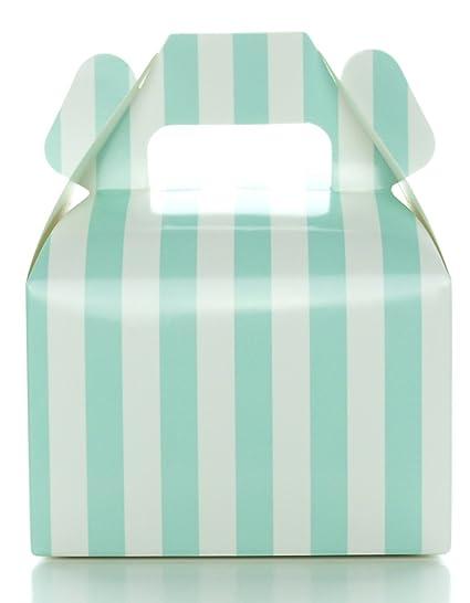 Amazon Aqua Blue Wedding Favor Boxes Striped 12 Pack