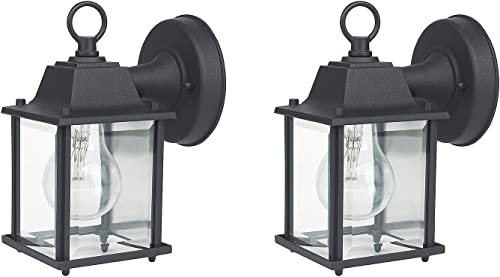 MOON BAY G02172-NA x 2 High Volt, E26 Base Socket excl ,Die-Cast Aluminum Body with Clear Glass Shade Waterproof for Outdoor Hallway Yard 2pack, Matt Black
