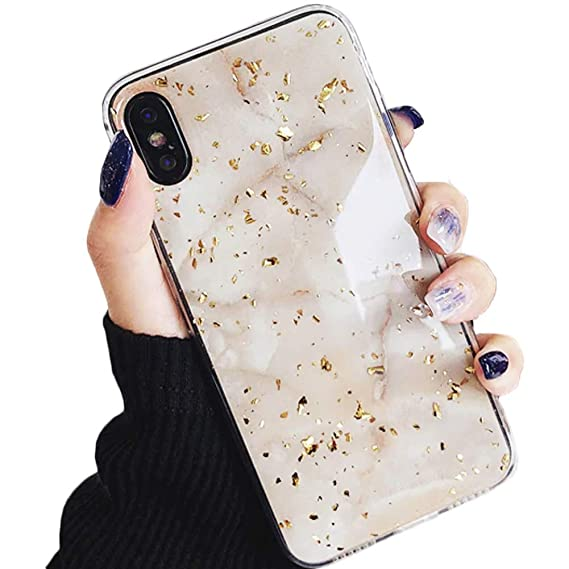 Amazon.com: Luxury Gold Foil Bling Marble Glitter Case Cute ...