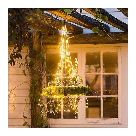 Hellum Copper Wire String Lights LED Starry String Lights 100 LED 33 ft Starry Fairy Lights Decorative Lights with Timer for Wedding,Patio,Gate,Party Indoor Outdoor Decoration (Warm White) - UL CERTIFIED & Safe to touch. Safety power adapter to proctect the you and the ligh. LED String Light won't overheat after over 18 hours use. After hours of use, lights remain cool and completely safe to touch. It is splash-proof(IP44), so it can be used for outdoor and indoor. Timer Mode: With the timer mode you will never forget to turn off / on the lights. This function help you control light up / turn off in time. 33 FT LONG: 33 Feet / 10 m on 100 leds copper wire. The copper wire strings is long enough to decorate your room and house. Use the Starry Fairy Lights to creating a romantic, festive and warm atmosphere. - patio, outdoor-lights, outdoor-decor - 61R7oXKx2JL. SS570  -
