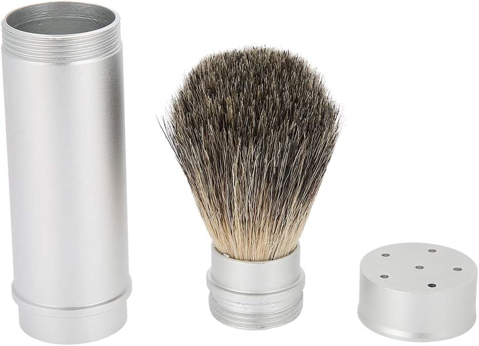 Cepillo de barba, herramienta de afeitar de barba Cepillo de barba portátil para hombres Las mejores cerdas Cepillo de pelo Cepillo de bigote Herramienta de aseo para el cuidado de la barba para viaje