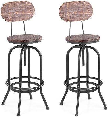 IKAYAA 2 Tabouret de Bar en Pin et M/étal Style Industriel Hauteur R/églable