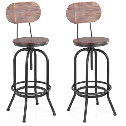 Ikayaa Industrial Bar Stool Height Adjustable Swivel Kitchen Dining Chair With Backrest Set Of 2