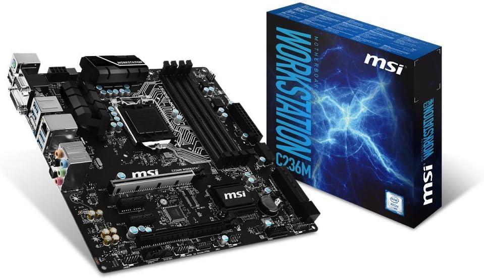 MSI LGA 1151 Intel C236 HDMI DDR4 USB 3.1 Micro ATX Motherboard (C236M Workstation)
