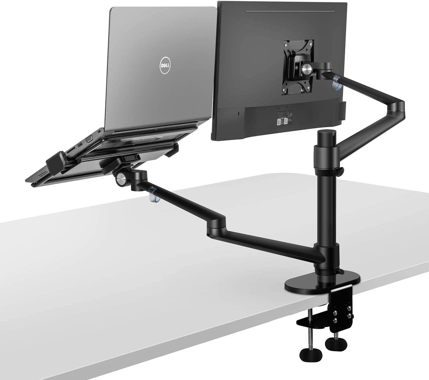 2 in 1 360 Degree Rotating Double Arm Laptop Stand for Desk, Monitor Holder Stand for Desk, Workstation Support 12-17 inch Laptop/Notebook/Tablet, Monitor 17-32 inch(Black)
