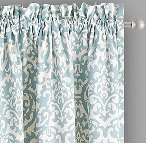 Waverly Drapery Panel - Traditions By Waverly Duncan Damask Spa Blue 2-Panel Drapery Window Curtains (84