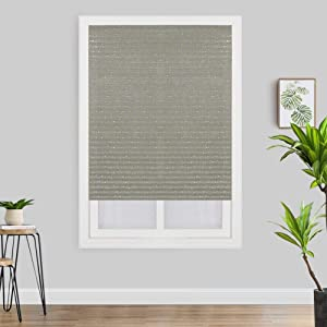 BATEER Self-Adhesive Pleated Window Shade with Star Pattern Bathroom Balcony Shades Cordless Half Blackout Curtain for Living Room Window Door Decor, 1 Pack