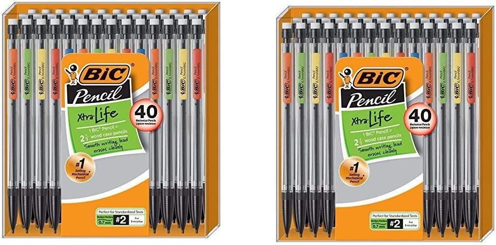 40 Count Medium Point 0.7 mm 2 Pack BIC Xtra-Life Mechanical Pencil