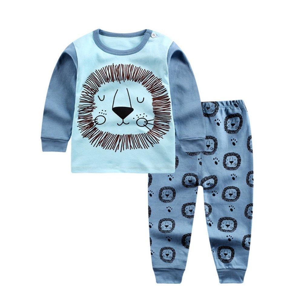 Wongfon Kids Cartoon Long Sleeve Shirt Pants Set Autumn Winter Shoulder Buckle Tops Home Underwear//Pajamas//Sleepsuit for Boys Girls 0-4 Years