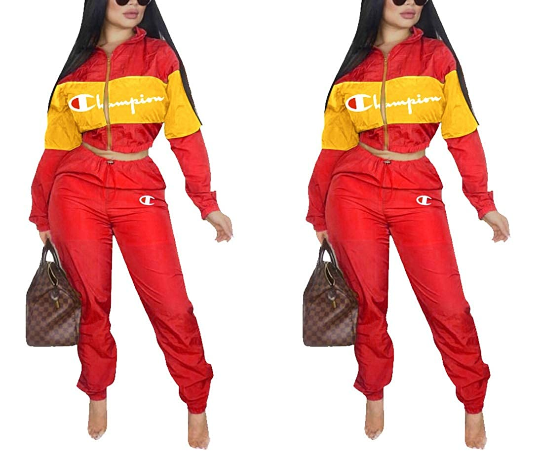 ec03ef05b15 Womens 2 Piece Outfits Tracksuit Set Casual Letter Print Blazer Crop  Sweatshirts and Skinny Long Pants Top and Pants Romper at Amazon Women s  Clothing store ...