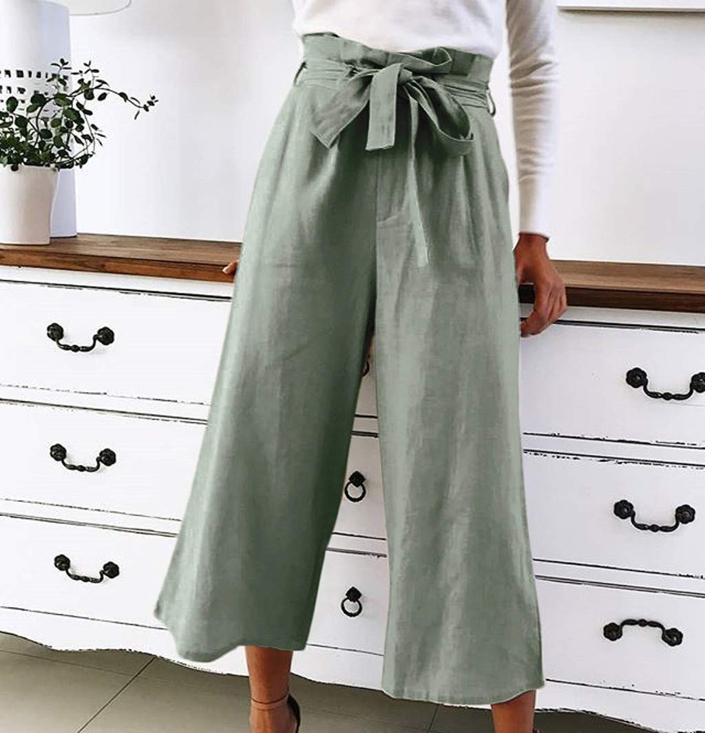 Femme Pantalon HLIYY Pantalon Large Femme Jambes Large Fluide Chic Evas/é Elastiqu/é Taille Haute D/écontract/é en Mousseline de Soie Grandes Tailles avec Ceinture Amincissant Casual