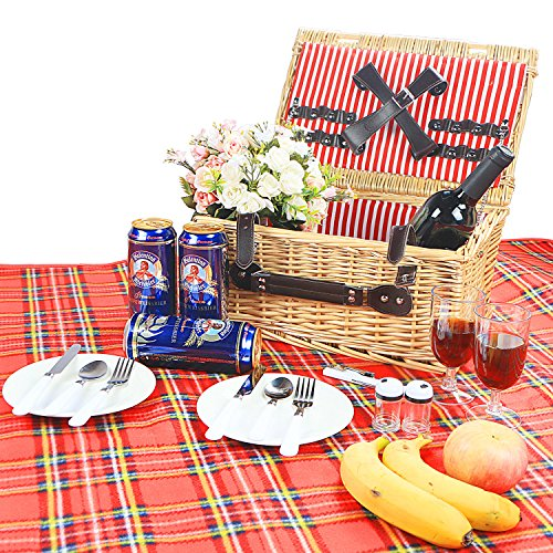 Woworld 2 Person Traditional Wicker Picnic Basket Hamper with Cutlery,Plates,Wine Glasses,Waterproof Picnic Blanket Red Stripe