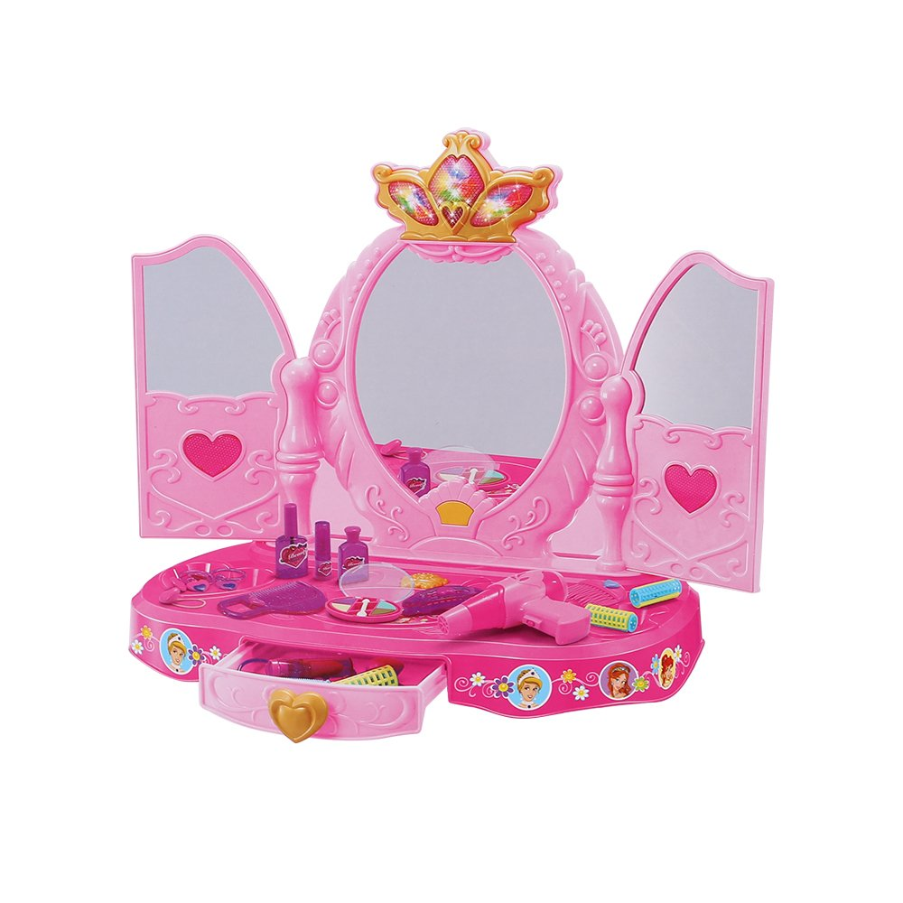 COLOR TREE Dresser Vanity Beauty Set | Pink Princess Pretend Play Dressing Table Top Set with Makeup Mirror, Jewelry and Accessories | Music and Lights for Little Girls (Crown) by COLOR TREE