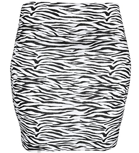 KMystic Basic Mini Skirt With Wide Waist Band (Small, Zebra)