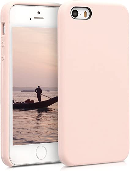 kwmobile TPU Silicone Case Compatible with Apple iPhone SE (1.Gen 2016) / 5 / 5S - Case Slim Protective Phone Cover with Soft Finish - Dusty Pink