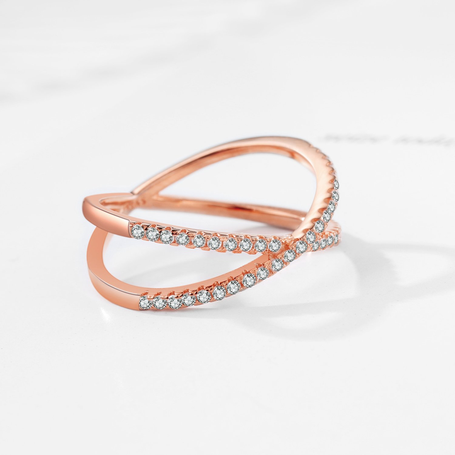 X Ring Sterling Silver, Cubic Zirconia X Criss Cross Ring Women, Size 6-8 (Rose-Gold-Plated-Silver, 7) by SISGEM (Image #5)