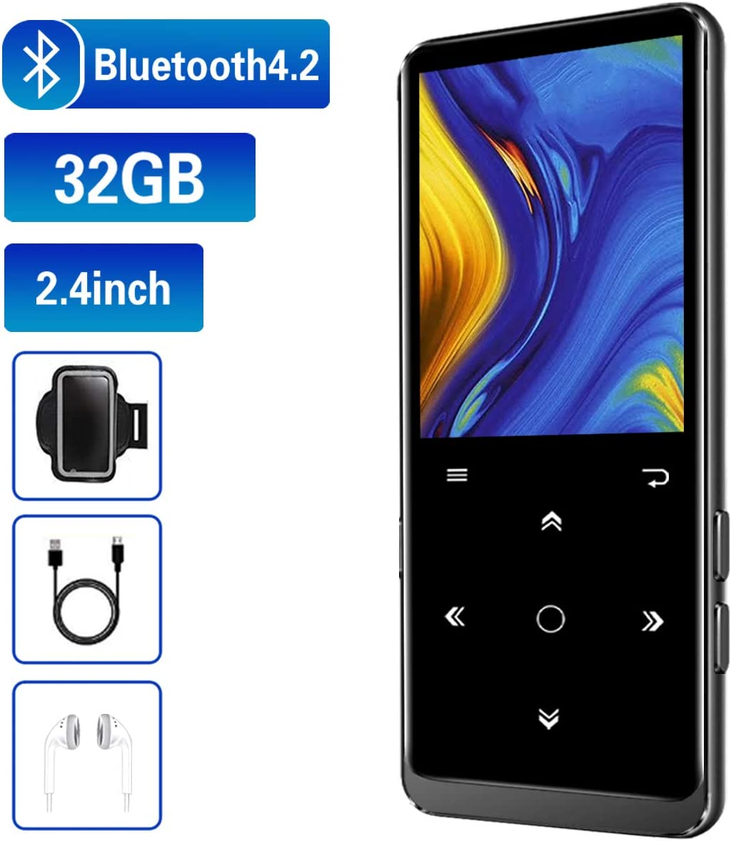 32GB Reproductor  MP3, con Bluetooth 4.2, con Radio FM, Grabación, Pantalla de 2.4