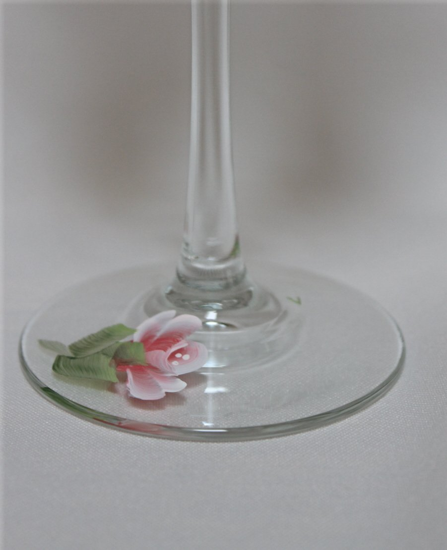 Hand Painted Wine Glasses Coral Roses Set of 2