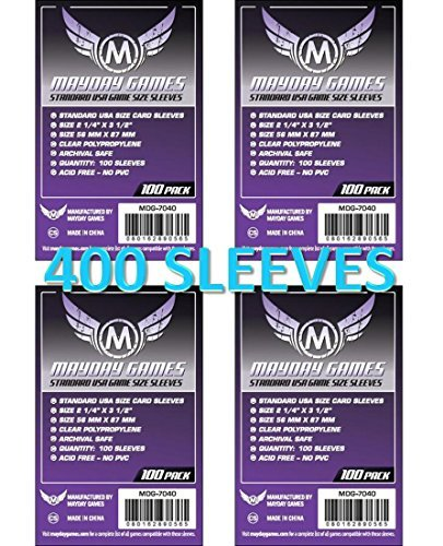 Mayday Games 7040 Clear Sleeves 56x87mm Standard USA Game Size (4x100 Pack, 400 sleeves) (Standard 100 Card)