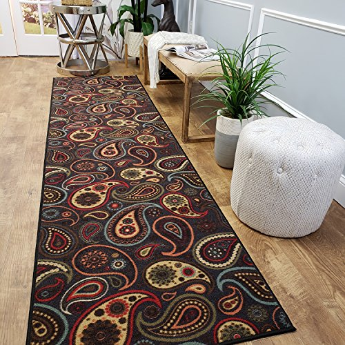 CUSTOM CUT 22-inch Wide by 23-feet Long Runner, Black Paisley Floral Non Slip, Non-Skid, Rubber Backed Stair, Hallway, Kitchen, Carpet Runner Rug - Choose your Width by Length