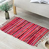 ANJUREN Multifunction Reversible Durable Color Stripe Area Rugs Rags Hand Woven Washable Runner Rug Carpet Mat Pad For Kitchen Bathroom Door Bedroom Apartment Sofa Window Bed Pet (23.6x35.4, Red)