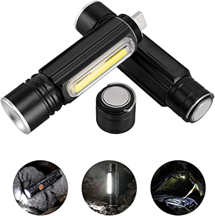 Foxhawk 2 Pack Magnetic Rechargeable LED Flashlight, 800 Lumens Pocket-Sized COB LED Work Light, Water Resistant EDC Torch Light, 5 Light Modes, Built-in 18650 Battery, Zoomable, Holster Included - - Amazon.com
